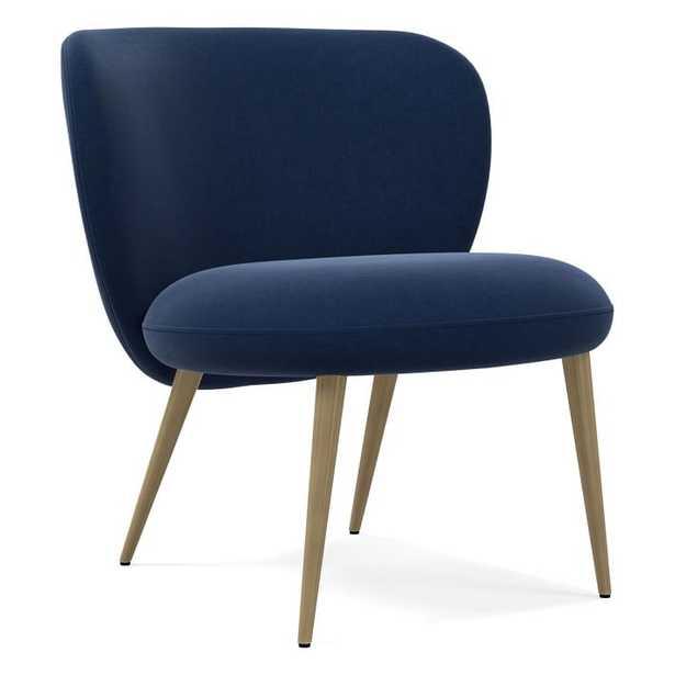 Ginger Slipper Chair, Poly, Performance Velvet, Ink Blue, Antique Brass - West Elm