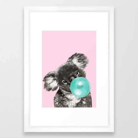 Playful Koala Bear with Bubble Gum in Pink Framed Art Print - Society6
