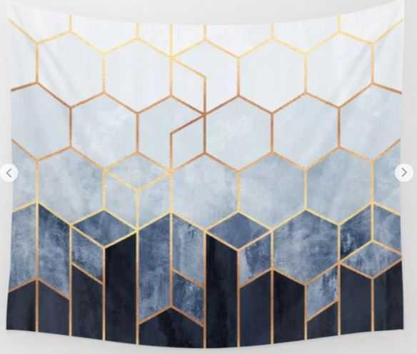 Soft Blue Hexagon Wall Tapesty -Small - Society6