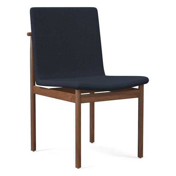 Framework Dining Chair, Basket Slub, Midnight, Walnut - West Elm