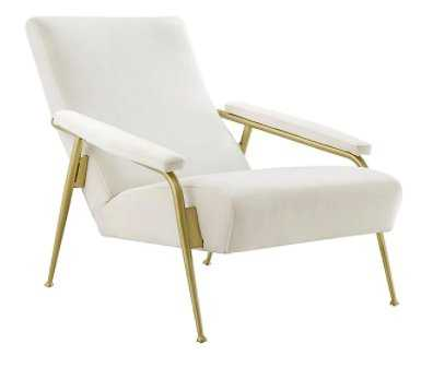 Abbey Velvet and Brushed Gold Armchair - Style # 80N08 - Lamps Plus