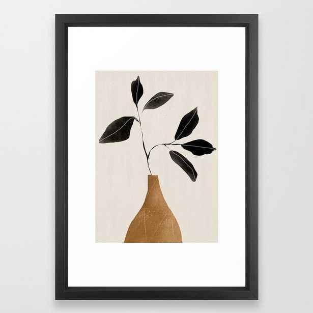 minimal plant 6 Framed Art Print/ Vector Black - Society6