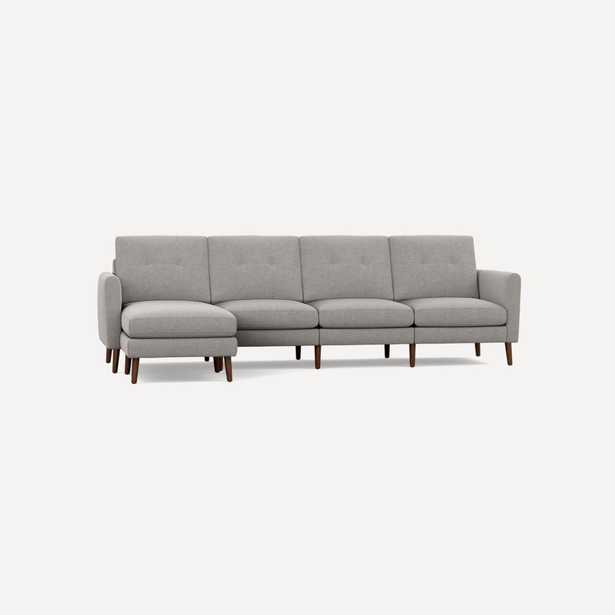 Nomad King Sectional - High Arms, Crushed Gravel Fabric, Dark Wood Legs, Chaise - Burrow