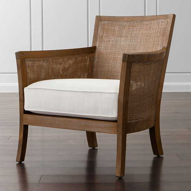 Blake Grey Wash Chair with Fabric Cushion- Kingston, Snow - Crate and Barrel
