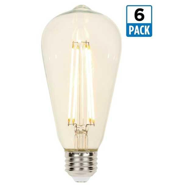 60 Watt Equivalent, ST20 LED, Dimmable Light Bulb, Warm White (2700K) E26 Base (Set of 6) - Wayfair