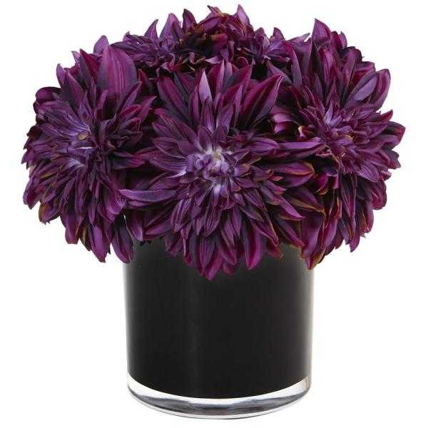 Dahlia Mum Silk Arrangement in Black Glossy Cylinder Vase Purple by Nearly Natural - Home Depot
