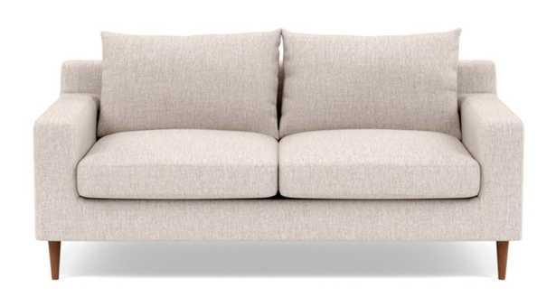 "Sloan 63"" Loveseat - Wheat Cross Weave - Oiled Walnut round tapered leg - Interior Define"