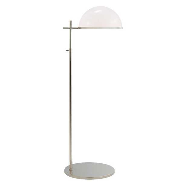 DULCET PHARMACY FLOOR LAMP - POLISHED NICKEL W/ WHITE GLASS - McGee & Co.