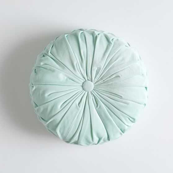 "Velvet Pleated Round Pillow, 14"" round, Aqua - Pottery Barn Teen"