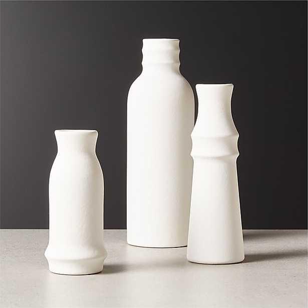 3-Piece Fleur Off-White Vase Set - CB2