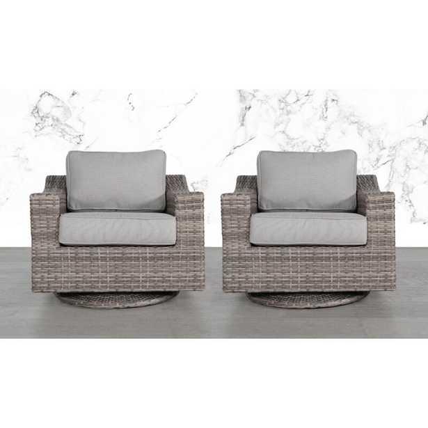 Laurene Club Swivel Patio Chair with Cushions (set of 2) - Wayfair