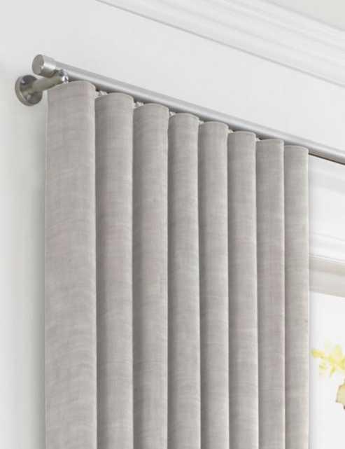 Light Gray Gauzy Linen Ripplefold Drapery, Unlined Dim Gray, Pair - Loom Decor