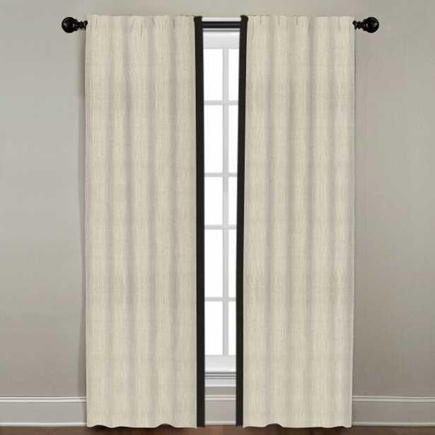 "Linen Border Drapery Panel, Natural with Black, 72"" - Linen & Seam"