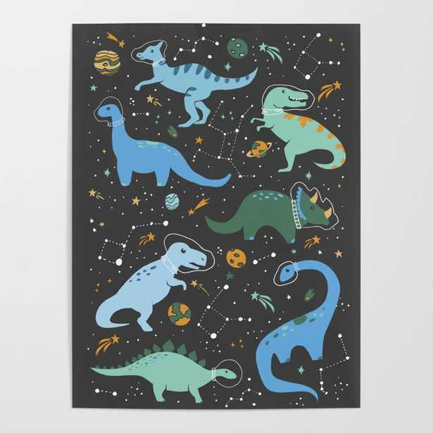 Dinosaurs in Space in Blue Poster - Society6
