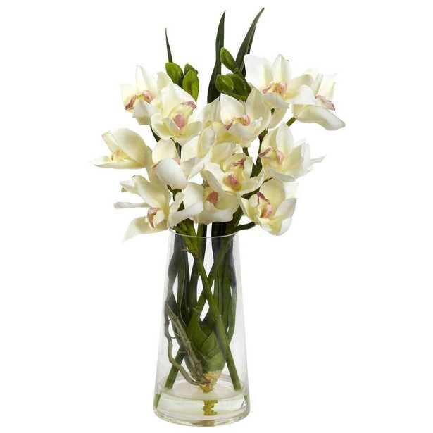 Cymbidium Orchid w/Vase - Fiddle + Bloom