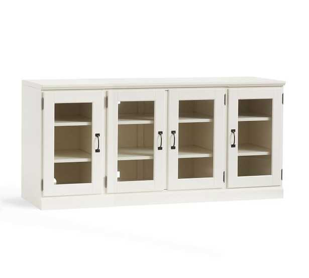 PRINTER'S LARGE LONG LOW MEDIA STAND SELECT FINISH: ARTISANAL WHITE GLASS CABINET - Pottery Barn