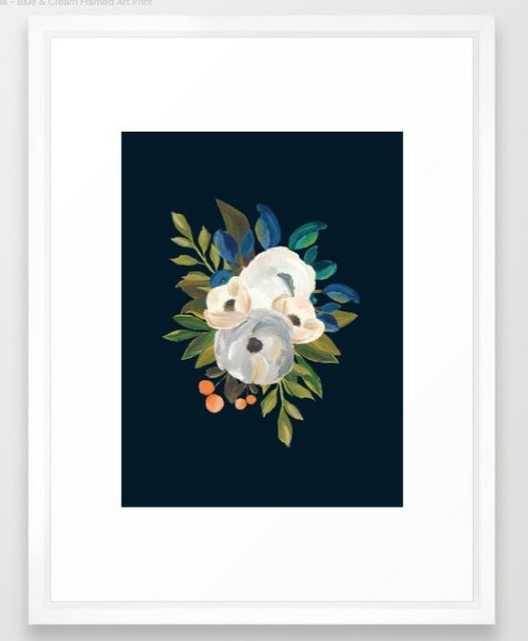 Midnight Florals - Blue & Cream - Society6