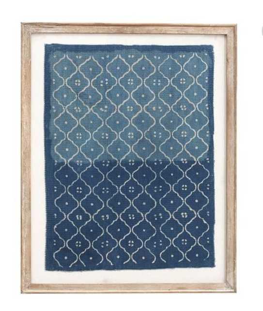 Framed Blue Textile Art, Trellis Pattern - Pottery Barn