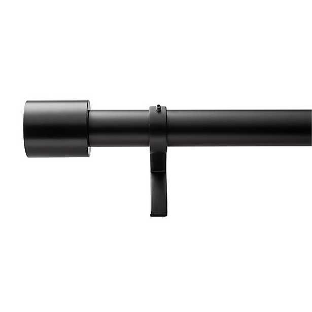 "Matte Black Cap Finial Curtain Rod Set 28""-48"" - CB2"