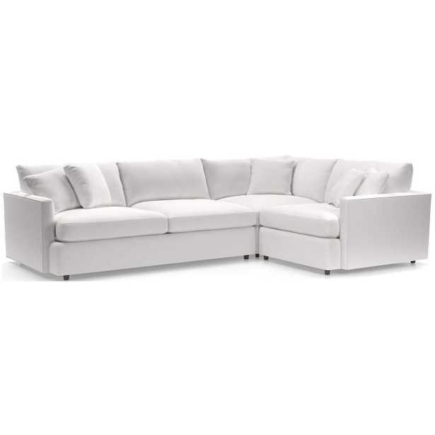 Lounge 3-Piece Sectional-View, White - Crate and Barrel