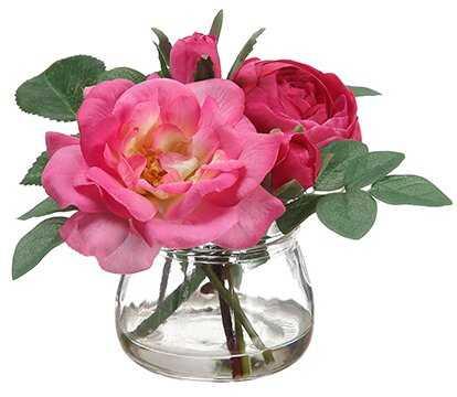 Edge Hill Silk Roses Centerpiece in Glass Vase - Wayfair