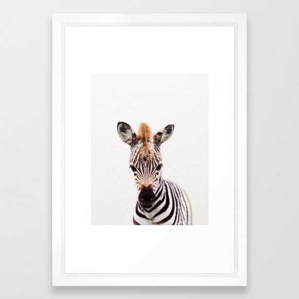 "Baby Zebra, Baby Animals Art Prints by Synplus Framed Art Print with Vector White Frame - 15""x21"" - Society6"