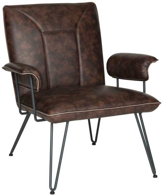 """Johannes 17.3""""H Mid Century Modern Leather Arm Chair - Antique Brown/Black - Arlo Home - Arlo Home"""
