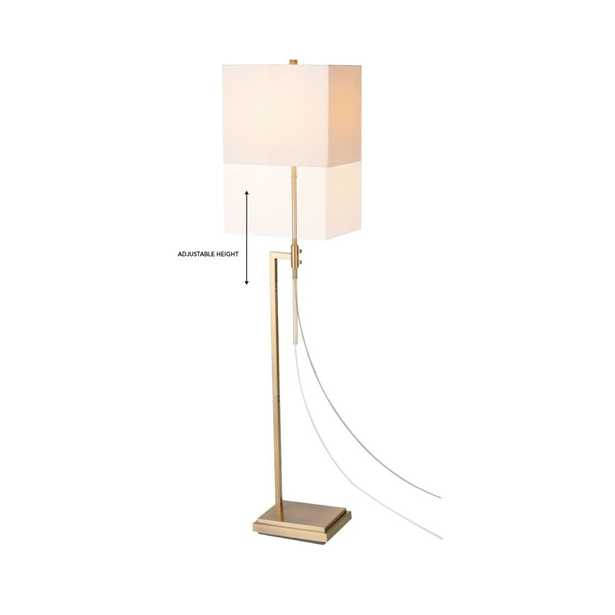 Globe Electric 63 in. Lockhart Soft Gold Adjustable Height Floor Lamp with Rectangular White Fabric Shade - Home Depot