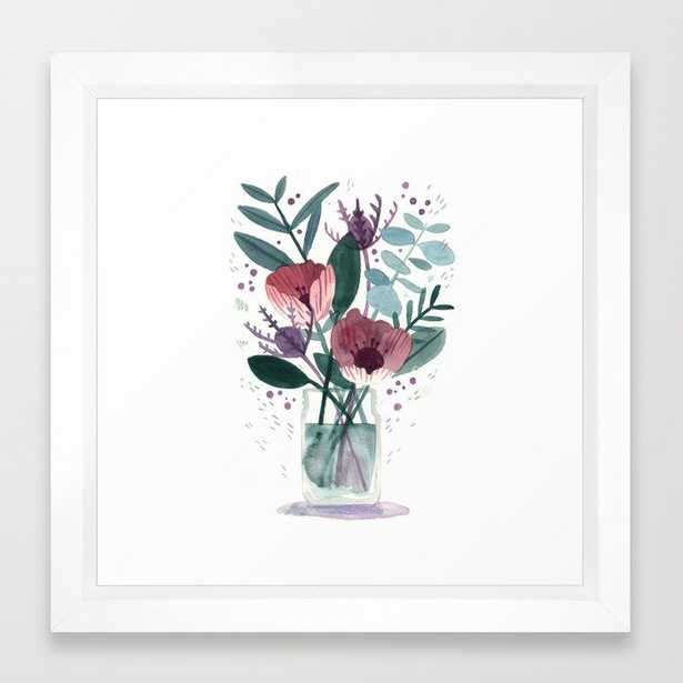 """Fresh Cut Flowers 2 - floral and botanical watercolor painting Framed Art Print, 12"""" x 12"""", Vector white frame - Society6"""