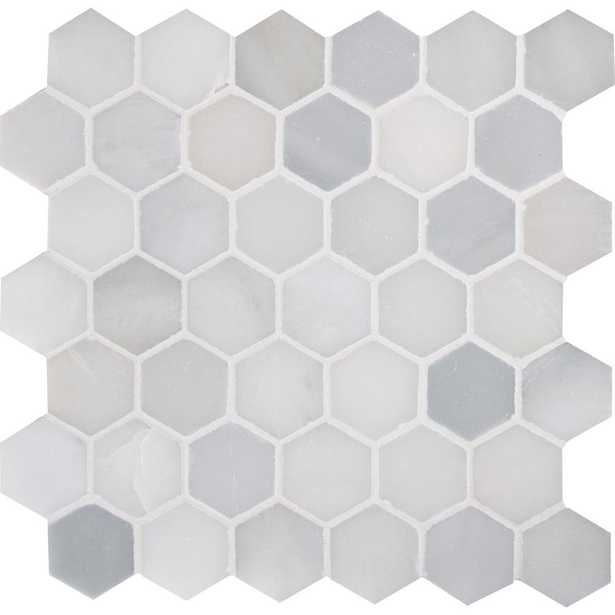 Greecian White Hexagon 12 in. x 11.75 in. x 10mm Polished Marble Mesh-Mounted Mosaic Tile (0.98 sq. ft.) - Home Depot