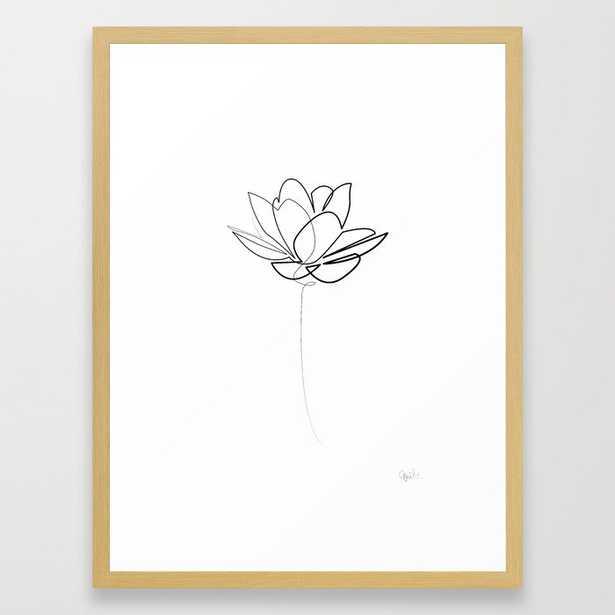 One line Lotus B&W Framed Art Print by Quibe - Society6