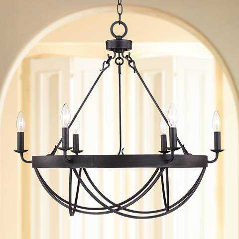 """Lyster Square 28"""" Wide Oil-Rubbed Bronze Chandelier - Lamps Plus"""