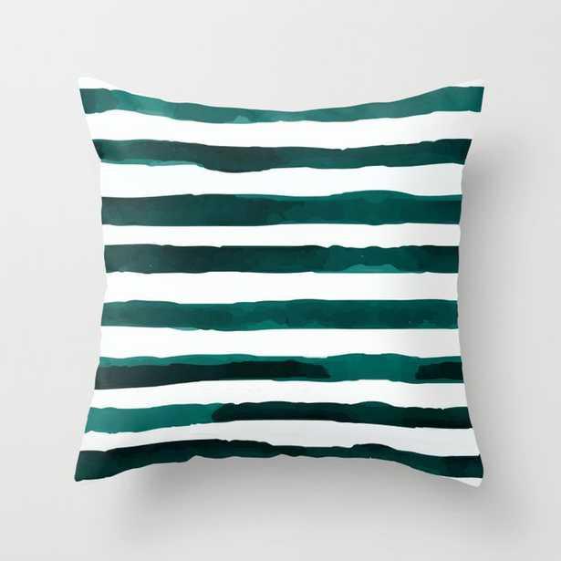 Watercolor Stripes (Emerald Green) Throw Pillow - Society6