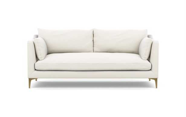 """Caitlin by The Everygirl Sofa in Ivory Heavy Cloth Fabric with Brass Plated legs - 83"""" - Interior Define"""