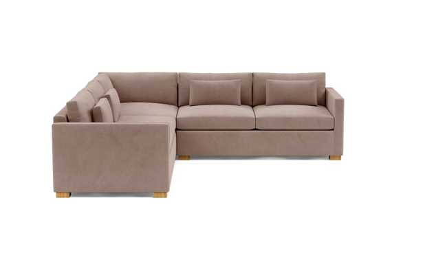 Charly Corner Sectional with Platinum Performace Velvet Fabric and Natural Oak legs - Interior Define
