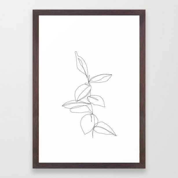 One line minimal plant leaves drawing - Berry Framed Art Print Conservation walnut - Society6