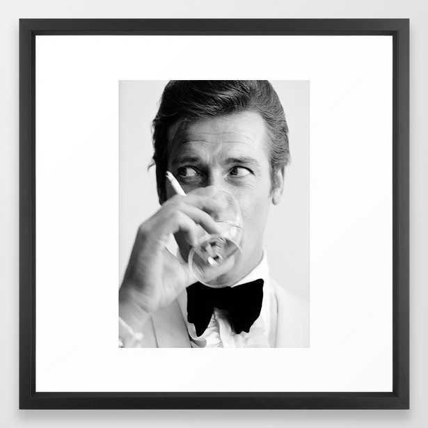 Roger Moore with Martini Retro Vintage Art Framed Art PrintFramed Art Print - Vector Black - 22 x 22 - Society6