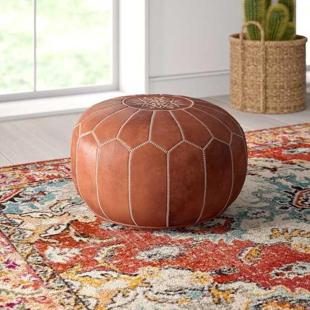 Carolos Pouf Leather Ottoman-Brown - Wayfair