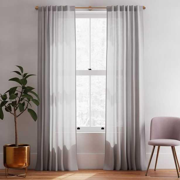 "Sheer Belgian Linen Curtain Stone Gray 48""x84"" - West Elm"