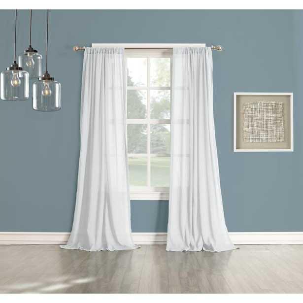 LICHTENBERG Sheer No. 918 Millennial Henderson White Cotton Gauze Curtain Panel - Home Depot