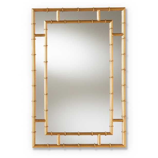 Adra Modern and Contemporary Gold Finished Bamboo Accent Wall Mirror - Lark Interiors