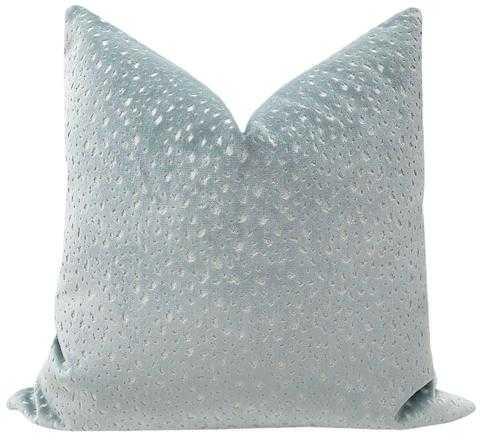 """Antelope Cut Velvet Pillow Cover, Spa Blue, 18"""" X 18"""" - Little Design Company"""