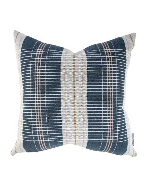 """OXFORD WOVEN PLAID PILLOW WITHOUT INSERT, NAVY, 12"""" x 24"""" - McGee & Co."""