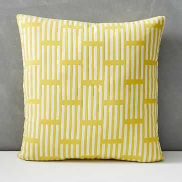 "Outdoor Lattice Pillow, 18""x18"", Citrus Yellow - West Elm"