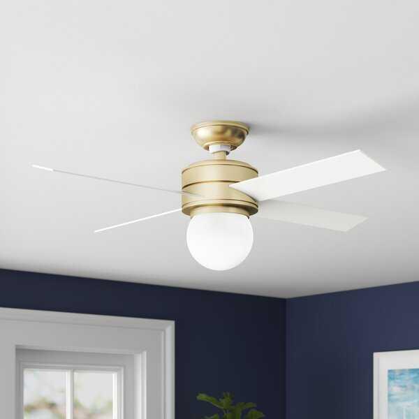 """52"""" Hepburn 4 Blade Ceiling Fan , Modern Brass/Aged Oak;White Grain - Wayfair"""