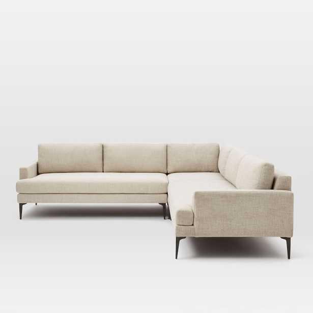 Andes Set 3, Right 2.5 Seater Sofa, Left 2.5 Seater Sofa, Corner, Twill, Stone, Dark Pewter - Wayfair