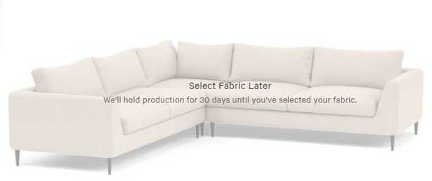 """ASHER Corner Sectional Sofa - 98""""x98"""" - Decide Later fabric/Unfinished GunMetal Tapered Round Metal leg - Interior Define"""
