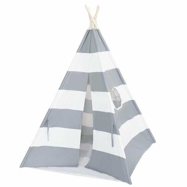 Triangular Play Tent with Carrying Bag - Gray - Wayfair