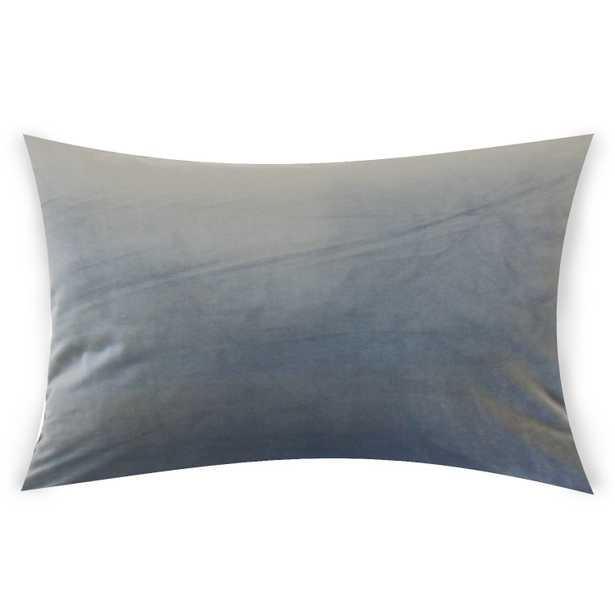 """Classic Velvet Pillow, Steel, 12"""" x 18"""" Lumbar - Havenly Essentials"""