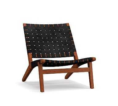 Fenton Leather Armchair, Black - Pottery Barn